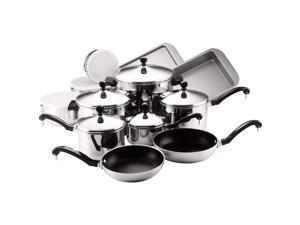 Farberware 71238 Classic Stainless Steel Cookware Pots and Pans Set, 17-Piece