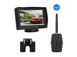 AUTO-VOX M1W Wireless Backup Camera Kit 4.3'' LCD Mirror Monitor with IP 68 Waterproof LED Super Night Vision License Plate Reverse Rear View Back Up Car Camera + Wireless Transmitter