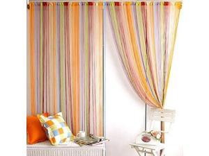 Modern Low-elastic yarn 7 Mixed Colorful Line String Window Curtain cortinas window curtains 78.74'inch x 39.37'inch