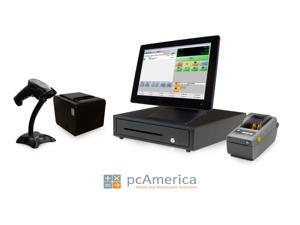 Retail Point of Sale System - includes Touchscreen PC, POS Software (CRE), Receipt Printer, Scanner, Cash Drawer, Credit Card Swipe Reader, and Label Printer