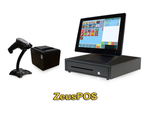 Retail Point of Sale System - includes Touchscreen PC, POS Software (Zeus POS), Receipt Printer, Scanner, Cash Drawer, Credit Card Swipe Reader, and LCD Pole Display