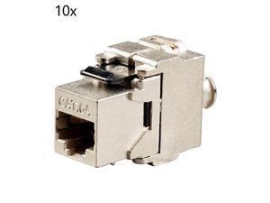 48x Keystone Jack Cat6A RJ45 Ethernet Network Module Toolfree 180 Degree White