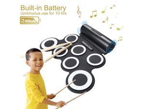 Electronic Drum Set Foldable Drum Pads Kit Built in Speaker With DrumSticks Foot Pedals 7 Drum Pads