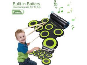 Portable Electronic Roll-Up Drum Kit, Foldable Drum Set Built in Speaker With DrumSticks, Foot Pedals and Power Supply 7