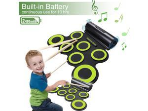 Rechargeable Electronic Roll-Up Drum Kit, Foldable Drum Set Built in Speaker With DrumSticks, Foot Pedals CoastaCloud 7