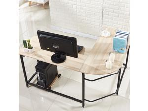 L-Shaped Corner Computer Desk PC Laptop Study Table Workstation Home Office Wood