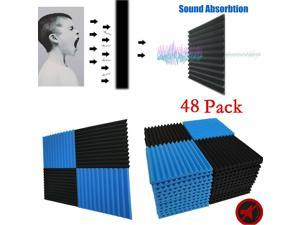 "48 Pack Acoustic Foam Studio Soundproofing Foam Panel Wedge  Tiles 12""x12"" Black Blue"