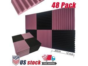 "48 Pack Acoustic Foam Studio Soundproofing Foam Panel Wedge  Tiles 12""x12"" Black Purple"