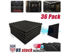 "36 Pack Soundproofing Foam Studio Panel Wedge Acoustic Foam Tiles 12""x12"" x1""Black"