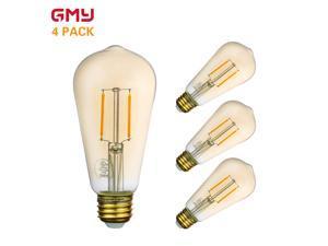 Antique LED Edison Light Bulb Dimmable - Vintage Amber LED Light Bulb Vertical Filament ST19 3W - 2200K Amber Glass Warm White E26 (4 PACK)