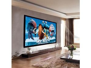 "92"" Aluminum Fixed Frame 16:9 Projector Screen Velvet Matte White Home Theater"