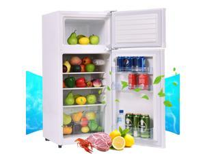 2 Doors 3.4 cu ft. Unit Stainless Steel Compact Mini Refrigerator Freezer Cooler