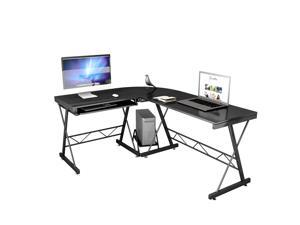 L-Shape Corner Computer Desk PC Laptop Table Study Workstation Home Office Black