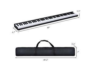 88 Keys Portable Digital Piano w/ Power Supply Sustain Pedal & Bluetooth Black