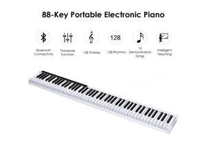 88 Keys Portable Digital Piano w/ Power Supply Sustain Pedal & Bluetooth White