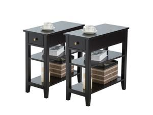 Set of 2 3Tier Nightstand Bedside Side End Table w/Double Shelves Drawer Black