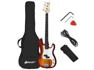 Full Size Electric Bass Guitar 4 String with Strap Guitar Bag Amp Cord Red