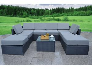 6088 MCombo Outdoor Rattan Wicker Sofa Couch Patio Furniture Chair Garden Sectional Set with Waterproof Cushions DIY Ottoman-Blue