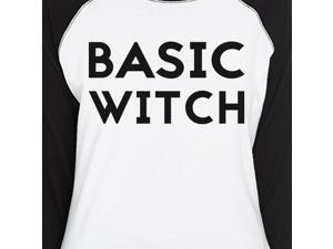 28f161909b4 Basic Witch Funny Halloween Costume For Women Baseball Graphic Tee