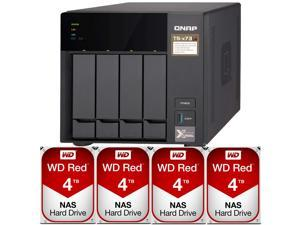 QNAP TS-473 8GB RAM 4-Bay Home / SMB NAS Preconfigured with 16TB (4 x 4TB) Western Digital RED NAS Drives