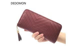 2017 long luxury brand designer women wallet clutch high quality leather tassel women purse with zipper