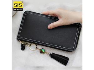2017 Fashion Leather Long Purse Lady Tassel Cell Phone Wallet Women iphone  Large Capacity Zipper Clutch b8f339b852