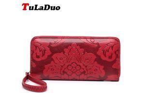 Big Embossing Fashion Women Long Wallet Pu Leather With Zipper Women Money Clips Clutch Bags Flower