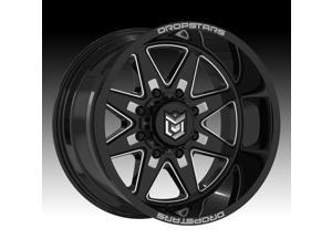 "20"" Inch Dropstars 655BM 20x10 8x180 -25mm Black/Milled Wheel Rim"