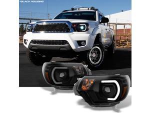 For [TRD PRO U-Bar] [Mono-Eye] 2012 2013 2014 15 Toyota Tacoma LED DRL Projector Black Smoke Headlights