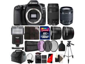 Canon EOS Rebel 80D 24.2MP Digital SLR Camera with 18-55mm Lens , 75-300mm Lens , Canon 100ES Case and Accessory Bundle
