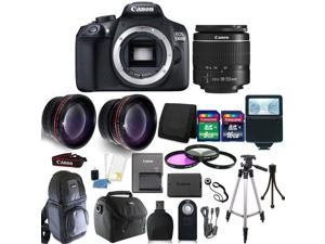 Canon EOS 1300D 18MP Digital SLR Camera (Black)  + 18-55mm IS II + 58mm 3pc Filter Kit + Telephoto & Wide Angle Lens + 24GB Memory Card  + Remote Control + Wallet + Card Reader + Slave Flash  + Gadget