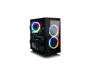 CLX SET GAMING PC AMD Ryzen 3 2200G 3.5GHz, NVIDIA GeForce GTX 1660Ti 6GB, 8GB Mem, 120  GB SSD + 1TB HDD, WiFi, Black Mini-Tower with RGB LED Ring Fans