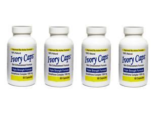 IVORY CAPS 4 Bottles Glutathoine Skin Enhancement Bio-Active 1500 MG 60Caps