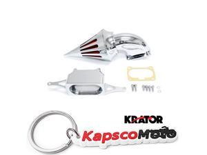Krator Motorcycle Chrome Spike Air Cleaner Intake Filter For
