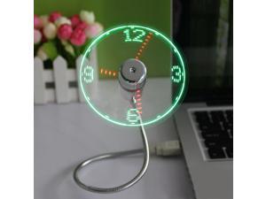 USB Mini Flexible Time LED Clock Fan with LED Light - Cool Gadget