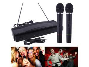1set Microphone System Professional Wireless Dual Handheld 2 x Mic Receiver