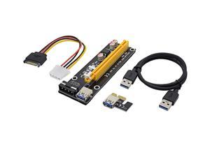 EC2WORLD 60cm PCI-E extender PCI Express Riser Card 1x to 16x USB 3.0 SATA to 4Pin IDE Molex Power for BTC Miner Machine