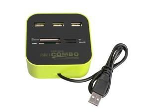 3 Ports USB 2.0 HUB Multi-card Reader for SD/MMC/M2/MS MP-All In One
