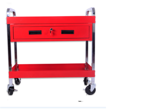 CRYSTAL FIT 3 Tray Depth Tool Cart 220 LB Load Capacity with Locking Drawer Tray and 360° Swivel Casters Red