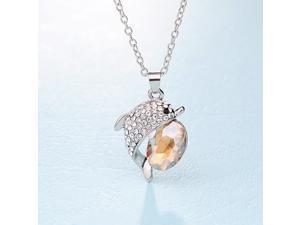 b4961a5a2b5a Collar con colgantes de cristal de imitación de piedras preciosas joyería  hermoso delfín para colgante