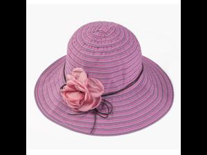 Visor Flower Belt Striped Summer Hats Panama Sunhats Beach Hat ... 6999edf66228