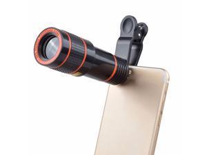EC2WORLD Universal 12X Zoom Phone Clip-on Telescope HD Camera Lens for Smartphones