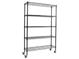 "Apollo Hardware Chrome 5-Shelf Wire Shelving 14""x48""x72"" (Black)"