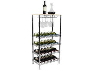 "Apollo Hardware Chrome 5-Tier Wire Wine Shelving and Top Wood with Glass Holder 14"" x 2 4"" x 48"""