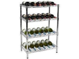 "Apollo Hardware Chrome 4-Tier Wire Wine Shelving 14"" x 24"" x 36"""
