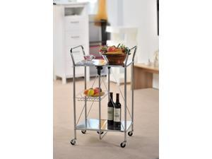 Apollo Hardware A-KC45AC Folding Utility and Kitchen Cart with 2 inch rubber wheels. (Chrome)