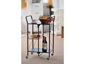 Apollo Hardware A-KC45AB Folding Utility and Kitchen Cart with 2 inch rubber wheels. (Black)