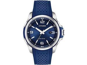 Men's Citizen Drive Eco-Drive Blue Slicone 45mm Watch AW1158-05L