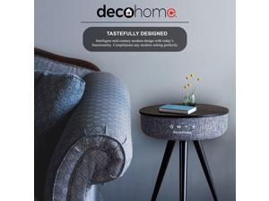 Deco Home Wireless Speaker Smart Table - 360 Degree Big Surround Sound with USB Ports and Wireless Charging Multifunctional Coffee Table and Nightstand (Gray)