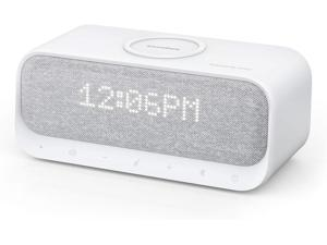 Soundcore Wakey Bluetooth Speaker Powered by Anker, Alarm Clock, Stereo Sound, FM Radio, White Noise, Qi Wireless Charger with 7.5W Charging for iPhone and 10W for Samsung